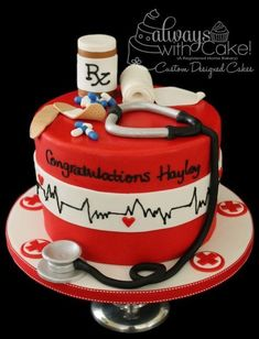 Nurses Graduation - This cake was made for an ASU Nursing Graduate. Fun to do. Heart rate is piped with royal icing and all decorations are made out of fondant. TFL (something to do for ESLI) Fondant Cakes, Cupcake Cakes, Cup Cakes, Nursing Graduation Cakes, Medical Cake, Doctor Cake, Retirement Cakes, Bakery Cakes, Novelty Cakes