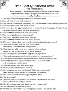 Top 20 questions to ask a guy you like