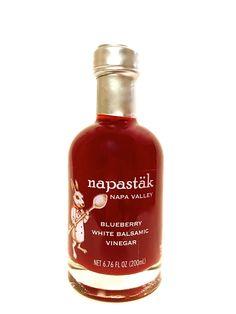 Napastäk Blueberry White Balsamic Vinegar. White Balsamic Vinegar, Hot Sauce Bottles, Gourmet Recipes, Blueberry, Napa Valley, Drinks, Bliss, Food, Blueberries