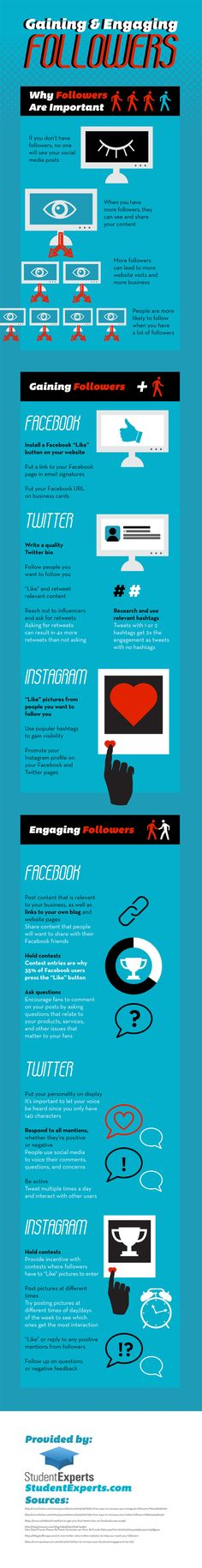 24 Tips to Gain & Engage Followers on Facebook, Twitter & Instagram #Infographic