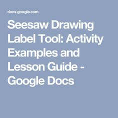 Seesaw Drawing Label Tool: Activity Examples and Lesson Guide - Google Docs