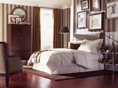Cozy bedroom design. Love the addition of the hardwood floors..