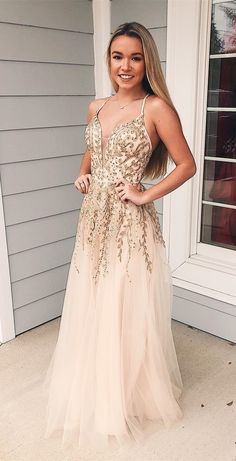 cheap champagne tulle long prom dresses, spaghetti straps senior prom dresses with appliques, formal evening dresses with appliques #dressestime #gowns #partydresses