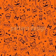 Happy Halloween Vector Pattern by Elena Alimpieva at patterndesigns.com Halloween Vector, Happy Halloween, Vector Pattern, Pattern Design, Surface Design, Scary, Skull, Patterns, Cute
