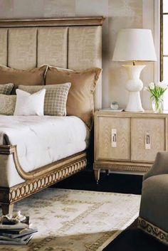 Southbury Wood Panel Bed in Parchment by American Drew Home Decor Furniture, Bedroom Furniture, Furniture Design, Bedroom Decor, Paint Furniture, Bedroom Ideas, Cabana, King Bedroom Sets, Master Bedroom