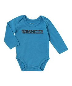 Look what I found on #zulily! Blue 'Wrangler' All Around Long-Sleeved Bodysuit - Infant #zulilyfinds