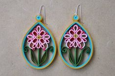 Paper Quilling Earrings Flowers by Erin Curet of Little Circles