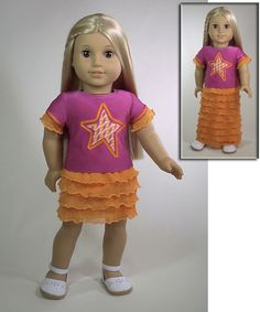 Pattern for American girl doll and little girl skirt dress from tee shirt and pre-ruffled fabric