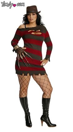 Plus Size Miss Krueger Costume, Plus Size Sexy Krueger Costume, Plus Size Ms. Krueger Costume, Plus Size Miss Krueger Halloween Costume