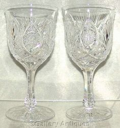 """Vintage Pair of Bohemian / Czech Crystal Cut Glass 6 3/4"""" Tall Large Wine / Water Goblets c.1970's by #GalleryAntiques"""