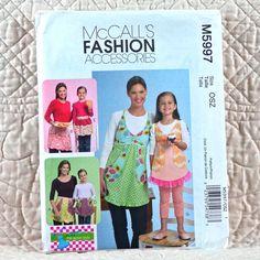 CRAFTS Uncut PATTERN 2009 McCALLS M5997 Women Girls Full Fitted Bodice Half Aprons Trim Ruffle Pocket Variations Pants 3-oz