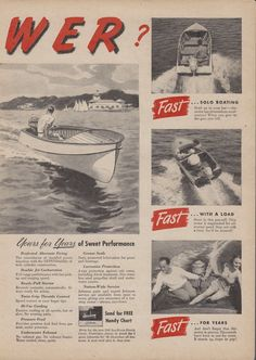 "2-PAGE 1948 JOHNSON ""SEA-HORSE"" MODEL SD 16 HP OUTBOARD MOTOR AD"