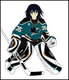 "Melfina as a Sharks goaltender by user ""Ex388"" on Deviantart.com"