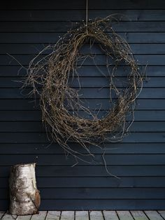 twig wreath and little lights