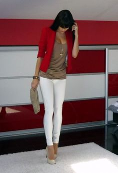 white skinnies nude pumps red cardigan