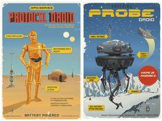 Retro travel posters advertising Star Wars destinations