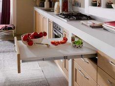 rebatible 03 Rustic Kitchen Island, Small Kitchen Cabinets, Kitchen Time, Kitchen Cabinet Design, Living Room Kitchen, Kitchen Cart, Diy Kitchen, Kitchen Storage, Folding Furniture
