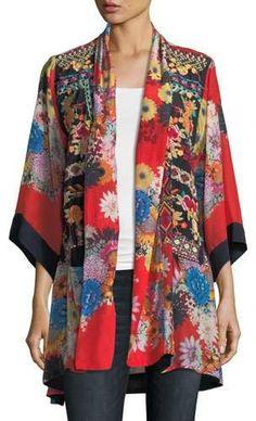 Plus Size Mishka Rose Embroidered Silk Kimono by Johnny Was at Neiman Marcus Silk Kimono, Kimono Top, Kimono Duster, Kimono Outfit, Kimono Cardigan, Johnny Era, Kimono Sewing Pattern, Embroidered Silk, Modest Outfits