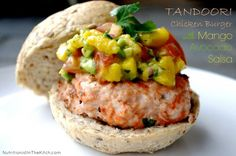 Tandoori Chicken Burgers with Mango Avocado Salsa - Beautiful, healthy and so easy!
