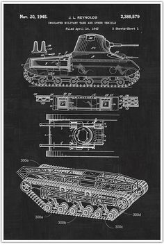 "Tank, Military, Blueprint Patent, Patent Poster, Blueprint Poster, Art, Gift, Poster Print, Patent Poster. Decorate your home or office and get inspired with Patent Poster Prints! These are awesome posters of inventions that have changed our lives throughout history. These poster prints are easy to frame and hang in your own home or perfect to give as a gift! Size: Approximately 18"" x 24"" or 24"" x 36"" Framing your Poster: You may need to trim the edges if you are framing the poster...."