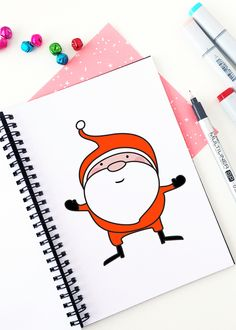 How to Draw a Santa Claus | #52weeksofhowtodraw | #christmas #diy #illustration | hellohappystudio.com