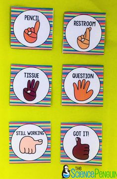Classroom Management Solution: Hand Signals — The Science Penguin Classroom Management Strategies, Classroom Procedures, Classroom Rules, Classroom Design, Future Classroom, Classroom Organization, Classroom Ideas, Kindergarten Classroom Management, Classroom Posters