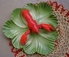 Lobster Quadrille Ceramic Figural Serving Dish Vintage 1940s Collectible Brad Keeler