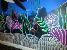 The mural features two adult Orca Whales swimming in the blue waters with their two baby Orcas. Underwater Sea, Orcas, Second Baby, Killer Whales, Colorful Paintings, Mural Painting, Wall Murals, Swimming, Hand Painted
