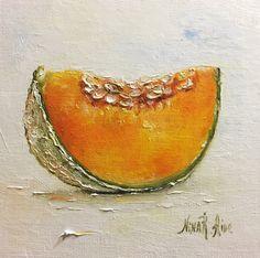 Cantaloupe Slice Melon Original Oil Painting Nina R.Aide 6x6 Canvas Fruit  Still Life Kitchen