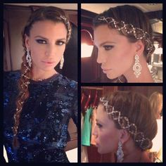 Claudia Galanti, Cannes 2013, wearing Roberto Cavalli for De Grisogono party, braid, makeup & hair by Elisa Rampi, diamonds in the hair, blue dress, paillets, red carpet