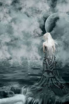 Selene (Luna) - Titan goddess of the Moon; daughter of the Titans Hyperion and Theia, and sister of the sun - god Helios and Eos, goddess of the dawn Dark Fantasy, Fantasy Art, Dance Of Death, Wheel Of Life, Shady Lady, Sacred Feminine, Sun And Stars, Moon Goddess, Over The Moon