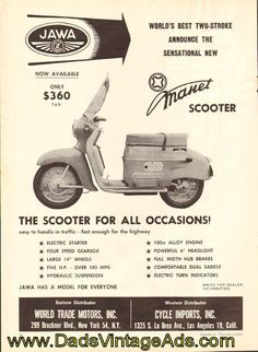 Scooter Garage, Moped Scooter, Vespa Scooters, Jawa 350, Vespa Girl, Retro Advertising, Motor Scooters, Mini Bike, Old Ads