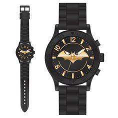 Wear the Dark Knight on your wrist with this Batman Gold Emblem Rubber Strap Watch. It is the ultimate Bat-accessory. This Batman Gold Emblem Rubber Strap Watch Im Batman, Batman Logo, Batman Art, Batman Stuff, Batman Robin, Gotham Batman, Cool Watches, Watches For Men, Wrist Watches