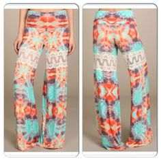NWT Colorful TieDye Wide Leg Pant NWT Colorful Tie Dye Palazzo/Wide Leg Pants. A colorful tie dye print with lace inserts across the thigh and a foldover waistband. Made in the USA! Stretchy and so comfortable! Material is Rayon/Spandex. Available in Small (0-4), Medium (6-8), Large (10-12). No Trades and No Paypal⭐️️PLEASE DO NOT BUY THIS LISTING, COMMENT WITH SIZE WHEN READY TO BUY AND I WILL MAKE A NEW LISTING⭐️ Pants
