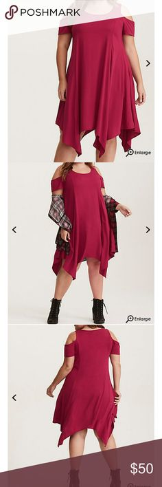 "Torrid Dress Red Challis Cold Shouder Trapeze Dress Challis Fabric Rayon/Spandex Light-weight Scoop Neck Coldshoulder cutouts No Waist Hanky Hem No closure  39 1/2"" from shoulder to hem torrid Dresses"