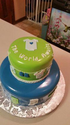 Travel theme baby shower cake