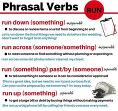 "phrasal verbs with ""run"""