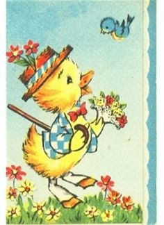 Vintage Greeting Cards With Bluebirds - - Easter Greeting Cards, Vintage Greeting Cards, Vintage Postcards, Vintage Images, Easter Card, Spring Animals, Easter Garland, Hoppy Easter, Blue Bird