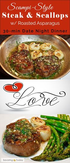 Surf & Turf Valentine Dinner -- Easy and elegant. This recipe makes celebrating simple and delicious. Beef tenderloin and scallops are sure to WOW and make any evening special. dinner recipes Scampi-Style Steak and Scallop Dinner for Two Steak Recipes, Seafood Recipes, Cooking Recipes, Healthy Recipes, Top Recipes, Cooking Tips, Recipies, Cajun Cooking, Unique Recipes