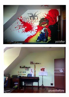 kids room, design,ideas, graffiti,red, hand painted wall Pokój Filipa: kolorowy, energetyczny mural, przy którym pomagał sam Filip. Murale tworzymy nie tylko dla dzieci ale z dziećmi! To świetna zabawa, okazja do włączenia dziecka w prace nad własnym pokojem. This is mural in Philip's room. Mural is colorful and energetic.Philip helped us at work. We create murals for children but children can work with us!. It's fun, and opportunity to include the child in the work of their own room Hand Painted Walls, Shared Rooms, Graffiti, Kids Room, Children, Opportunity, Fun, Room Ideas, Design Ideas