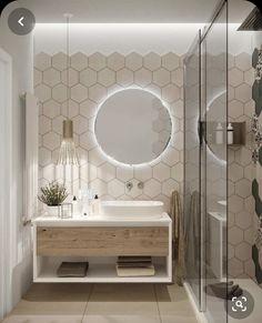 Bathroom Design Luxury, Modern Bathroom Decor, Modern Bathroom Design, Home Interior Design, Modern Hallway, Light Bathroom, Bathroom Mirrors, Interior Modern, Modern Luxury