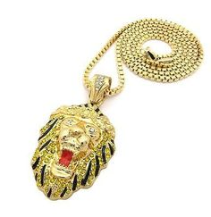 "NEW ICED OUT GOLD LION FACE PENDANT w/ 3mm 30"" BOX CHAIN HIP HOP NECKLACE GN033G"