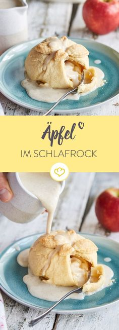 Die Füllung aus Aprikosen, Nüssen, Keksen und Karamell könnte man auch pur löffeln. Im Apfel gebacken und mit Teig umhüllt schmeckt's aber noch viel besser.