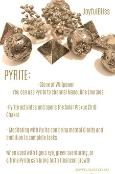 Pyrite Pyrite is a iron sulfide mineral with a hardness of The colors of pyrite are typically yellowish gold. Pyrite is commonly known as fools gold. A very commonly found and used stone. Chakra Crystals, Crystals Minerals, Crystals And Gemstones, Stones And Crystals, Gems And Minerals, Crystal Healing Stones, Crystal Magic, Crystal Grid, Crystal Shop