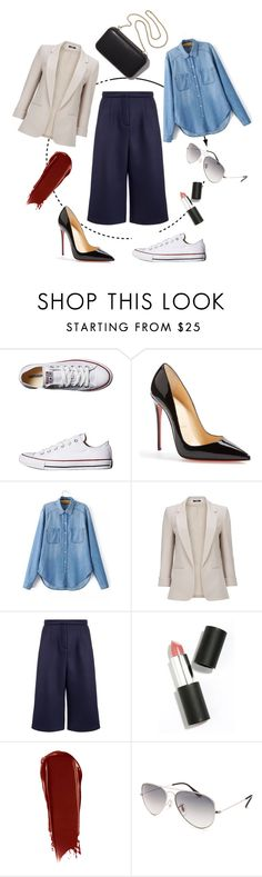 """Short Story"" by breath-lyss ❤ liked on Polyvore featuring Converse, Christian Louboutin, Emma Cook, Sigma Beauty, NARS Cosmetics, Clare V. and Ray-Ban"