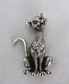 VINTAGE 1950s-60s SIGNED TORTOLANI MOD HIP RHINESTONE COOL CAT KITTY PIN