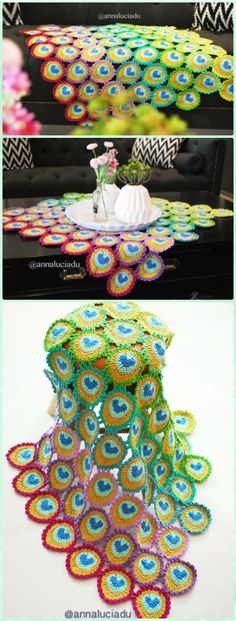 10 Crochet Peacock Feather Free Patterns See other ideas and pictures from the category menu…. Faneks healthy and active life ideas Grannies Crochet, Crochet Squares, Crochet Motif, Crochet Doilies, Crochet Yarn, Crochet Flowers, Crochet Stitches, Crochet Afghans, Crochet Blankets