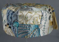 Handmade Smoking Cap - Lounging Hat - Crazy Patchwork Various Colour Pure Silks Plus Embroidery Etc.