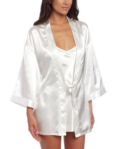 Dreamgirl Women's Shalimar Charmeuse Babydoll with Robe & Padded Hanger, White #valentinesday #gift #pajamas