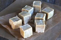 Healthy White Chocolate Paleo Fudge - raw cacao butter, maple syrup, coconut butter, vanilla, salt and coconut oil
